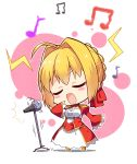 /\/\/\ 1girl absurdres ahoge blonde_hair blush_stickers chibi epaulettes eyebrows_visible_through_hair eyes_closed fate/extra fate_(series) full_body highres long_sleeves microphone microphone_stand music musical_note nero_claudius_(fate) nero_claudius_(fate)_(all) open_mouth short_hair singing solo standing subaru_(794829485) white_background