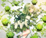 blush dress flowers green_hair kohaku_muro leaves long_hair original yellow_eyes