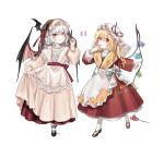 2girls :p absurdres alternate_costume apron bat_hair_ornament bat_wings black_footwear blonde_hair blue_bow blue_hair bow braid commentary cross-laced_footwear dress eyebrows_visible_through_hair fangs fingernails fingers_to_mouth flandre_scarlet floral_print french_flag full_body hair_between_eyes hair_ornament hair_ribbon hand_up hat hat_ribbon highres long_hair long_sleeves mary_janes mob_cap multiple_girls nail_polish one_side_up parted_lips pleated_skirt puffy_sleeves red_dress red_eyes red_footwear red_nails red_ribbon red_sash red_skirt remilia_scarlet ribbon sash shan sharp_fingernails shoes siblings simple_background sisters skirt skirt_hold slit_pupils smile standing striped striped_bow tongue tongue_out touhou twin_braids veil vertical-striped_dress vertical_stripes waist_apron white_apron white_background white_bow white_dress white_hat white_legwear wide_sleeves wings