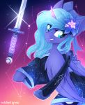 2018 blue_feathers blue_hair clenched_teeth clothed clothing cutie_mark equine eyelashes feathered_wings feathers female feral flower flower_in_hair friendship_is_magic glowing_horn gradient_background hair hair_bow hair_ribbon hi_res holding_object holding_weapon hooves horn japanese_clothing katana kimono levitation magic mammal melee_weapon my_little_pony plant portrait princess_luna_(mlp) redchetgreen ribbons scabbard simple_background solo sword teal_eyes teeth weapon winged_unicorn wings