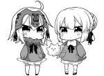 2girls absurdres ahoge artoria_pendragon_(all) bangs bloomers blush bow braid carrying_under_arm chibi collared_shirt commentary_request eyebrows_visible_through_hair eyes_closed fate/apocrypha fate/grand_order fate/stay_night fate_(series) fur-trimmed_shirt fur_trim greyscale hair_between_eyes hair_bow hair_bun headpiece highres jako_(jakoo21) jeanne_d'arc_(alter)_(fate) jeanne_d'arc_(fate)_(all) kneehighs long_sleeves monochrome multiple_girls puffy_long_sleeves puffy_sleeves saber_alter shirt simple_background sleeves_past_wrists socks standing underwear v-shaped_eyebrows white_background younger
