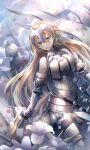 2girls armor armored_boots armored_dress bangs bare_shoulders black_cape black_dress black_legwear blonde_hair blue_eyes boots breasts cape cloud cloudy_sky commentary dress earrings eyebrows_visible_through_hair facing_away fate/apocrypha fate/grand_order fate_(series) flower fur-trimmed_legwear fur_trim gauntlets hair_between_eyes headpiece jeanne_d'arc_(alter)_(fate) jeanne_d'arc_(fate) jeanne_d'arc_(fate)_(all) jewelry long_hair medium_breasts multiple_girls outdoors silver_hair sky solo_focus thighhighs very_long_hair white_dress white_flower yunohito