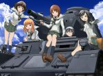5girls 640mb akiyama_yukari black_eyes black_hair breasts brown_eyes brown_hair caterpillar_tracks cloud girls_und_panzer ground_vehicle isuzu_hana long_hair military military_vehicle motor_vehicle multiple_girls nishizumi_miho ooarai_school_uniform open_mouth orange_eyes orange_hair panzerkampfwagen_iv reizei_mako short_hair sky smile takebe_saori tank