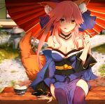 1girl animal_ears bare_shoulders blue_legwear blue_ribbon breasts cleavage detached_sleeves eating fate/extra fate/grand_order fate_(series) food fox_ears fox_tail fruit hair_ribbon ice_cream japanese_clothes kosumi large_breasts looking_at_viewer outdoors pink_hair ribbon sitting solo strawberry tail tamamo_(fate)_(all) tamamo_no_mae_(fate) tongue yellow_eyes