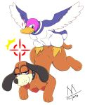 anthro anthrofied avian bird canine dog duck duck_hunt duck_hunt_dog duck_hunt_duck female flying mallard mammal meatboom nintendo nude super_smash_bros_ultimate video_games
