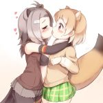 2girls american_beaver_(kemono_friends) animal_ears antenna_hair arm_around_neck beaver_ears beaver_tail black-tailed_prairie_dog_(kemono_friends) black_gloves black_swimsuit blush brown_eyes brown_hair elbow_gloves extra_ears french_kiss fur_collar gloves green_skirt grey_hair hair_ornament hairclip heart kemono_friends kiss long_sleeves matsuu_(akiomoi) miniskirt multiple_girls open_clothes open_vest plaid plaid_skirt pleated_skirt prairie_dog_ears prairie_dog_tail saliva shorts skirt sweatdrop swimsuit tail tears torn_clothes torn_shorts torn_sleeves vest yuri