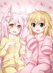 2girls animal_ears ara_(shbm) black_eyes blonde_hair blush cat_ears collarbone eyebrows_visible_through_hair hair_ornament hairpin looking_at_viewer multiple_girls open_mouth pajamas pink_hair shimakaze_(zhan_jian_shao_nyu) sleeves_past_fingers sleeves_past_wrists yellow_eyes yuudachi_(zhan_jian_shao_nyu) zhan_jian_shao_nyu