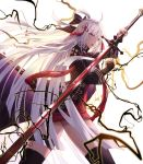 1girl ahoge arm_guards bangs boots bow cecil86 cloak commentary_request dark_skin fate/grand_order fate_(series) hair_between_eyes hair_bow hair_ornament highres holding holding_sword holding_weapon katana lightning long_hair looking_at_viewer okita_souji_(alter)_(fate) okita_souji_(fate)_(all) open_mouth silver_eyes silver_hair simple_background solo standing sword tassel thigh_boots thighhighs very_long_hair weapon white_background