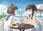 2girls alternate_costume anchor_symbol bendy_straw black_hair brown_eyes brown_hair chair cnm cup day dress drinking_glass drinking_straw flower food gradient_hair grey_hair hair_flower hair_ornament hairband hat headgear holding holding_food holding_spoon ice_cream kantai_collection mini_hat multicolored_hair multiple_girls open_mouth outdoors sailor_dress short_hair short_hair_with_long_locks sidelocks sitting sleeveless sleeveless_dress speaking_tube_headset spoon table tokitsukaze_(kantai_collection) white_dress yellow_flower yukikaze_(kantai_collection)