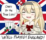 1girl 2018_fifa_world_cup =_= blonde_hair braid commentary dress england english english_commentary english_flag eyes_closed flag_background flower french_braid guin_guin jewelry kantai_collection long_hair long_sleeves necklace off-shoulder_dress off_shoulder red_flower red_ribbon red_rose ribbon rose solo tea teabag union_jack warspite_(kantai_collection) world_cup