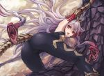 animal armor ass bodysuit cameltoe elbow_gloves fang gloves granblue_fantasy long_hair medusa_(shingeki_no_bahamut) noconol purple_eyes shingeki_no_bahamut skintight snake tail white_hair