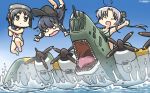 3girls ahoge aircraft airplane akatsuki_(kantai_collection) akitsushima_(kantai_collection) black_hair blue_sky brown_eyes chibi day diving_mask diving_mask_on_head eyes_closed flat_cap flying_boat gradient_sky grey_hair hamu_koutarou hat highres kantai_collection long_hair maru-yu_(kantai_collection) multiple_girls nishikitaitei-chan open_mouth outdoors remodel_(kantai_collection) riding school_swimsuit sharp_teeth short_hair side_ponytail sidelocks sky swimsuit tears teeth waves white_school_swimsuit white_swimsuit