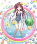 1girl =_= ayumu_(ayumumkrg) azuki_(flower_knight_girl) ball beachball blue_swimsuit cat flower flower_knight_girl food full_body hair_flower hair_ornament hairband long_hair looking_at_viewer name_tag orange_eyes popsicle purple_hair red_hairband rubber_duck signature solo swimsuit wading_pool watermelon_beach_ball