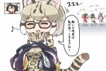 5girls ? ^_^ animal_ears backpack bag black_hair blonde_hair blush_stickers bow bowtie cat_ears cat_tail chibi closed_eyes counting elbow_gloves eyebrows_visible_through_hair eyes_closed fang gentoo_penguin_(kemono_friends) glasses gloves hair_between_eyes hat_feather helmet holding_clothes kaban_(kemono_friends) kemono_friends long_hair margay_(kemono_friends) margay_print multicolored_hair multiple_girls musical_note no_nose open_mouth penguins_performance_project_(kemono_friends) pith_helmet print_gloves print_neckwear print_skirt red_shirt rockhopper_penguin_(kemono_friends) royal_penguin_(kemono_friends) running shirt short_hair short_sleeves skirt sleeveless smile solo_focus tail tanaka_kusao thighhighs translation_request twintails white_hair |_|