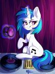 2018 blue_hair blush chest_tuft curtains cute cutie_mark equine eyebrows eyelashes eyewear female feral friendship_is_magic fur glowing_horn hair hooves horn inside levitation looking_away magic mammal multicolored_hair my_little_pony nude portrait purple_eyes short_hair sitting smile solo spindlespice sunglasses tuft turntable_(decks) two_tone_hair unicorn vinyl_scratch_(mlp)