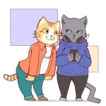 anthro blue_eyes blush cat clothed clothing duo feline headphones hoodie kuehiko_roshihara male mammal multicolored_tail owo reisho simple_background striped_tail stripes tapio_chatarozawa whiskers white_background working_buddies! yellow_eyes