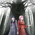 1boy 1girl absurdres bangs black_hair blue_eyes breasts commentary_request couple darling_in_the_franxx eyebrows_visible_through_hair green_eyes hair_ornament hairband hand_holding hand_up hetero highres hiro_(darling_in_the_franxx) horns interlocked_fingers long_hair long_sleeves medium_breasts military military_uniform minato2818 necktie oni_horns orange_neckwear pink_hair red_horns red_neckwear short_hair snow snowing tree uniform white_hairband zero_two_(darling_in_the_franxx)