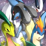 ambiguous_gender fangs grovyle legendary_pokémon lucario lugia nintendo open_mouth pokémon pokémon_(species) quilava red_eyes snow soaring_(artist) video_games yellow_sclera