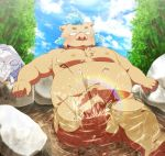 5_fingers 5_toes anthro bathing belly blush boar butt facial_hair feet flaccid forest gouryou male mammal moobs nipples nude overweight overweight_male pecs penis penta008 porcine rainbow sideburns sky slightly_chubby solo splashing spring stone toes tokyo_afterschool_summoners tree water