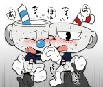 2018 anal anal_fingering anal_penetration animate_inanimate censored clothing cuphead_(character) cuphead_(game) dialogue digital_media_(artwork) drooling duo eyes_closed fingering group group_sex hi_res japanese_text legwear male male/male mugman not_furry object_head orgasm penetration penis saliva sex socks straw text unknown_artist