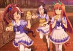 3girls animal_ears brown_hair ear_covers food frilled_skirt frills green_eyes hair_ribbon hairband highres horse_ears horse_girl horse_tail long_hair multicolored_hair multiple_girls official_art one_eye_closed open_mouth orange_hair pleated_skirt ponytail puffy_short_sleeves puffy_sleeves purple_eyes ribbon short_hair short_sleeves silence_suzuka skirt special_week tail taiyaki thighhighs tokai_teio two-tone_hair umamusume wagashi white_legwear white_skirt zettai_ryouiki