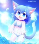 beach bikini cat clothing crystaltail feline female kemono mammal sea seaside swimsuit water