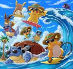 alolan_exeggutor alolan_raichu ambiguous_gender beach detailed_background eevee eyewear feral group large_group nintendo outside pichu pikachu pokémon pokémon_(species) pokemoa raichu regional_variant seaside semi-anthro shellder squirtle sunglasses surfboard video_games