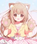 1girl :d ame_usari animal_ears bangs blush brown_eyes cat_ears collarbone commentary_request dress eyebrows_visible_through_hair gloves hair_between_eyes hands_up highres idolmaster idolmaster_cinderella_girls jacket light_brown_hair long_hair looking_at_viewer open_mouth paw_gloves paws pink_dress plaid plaid_dress short_sleeves sidelocks smile solo very_long_hair wide_sleeves yellow_jacket yorita_yoshino