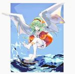 1girl blue_sky chiki dragon_wings fire_emblem fire_emblem:_rekka_no_ken fire_emblem_heroes green_eyes green_hair hair_ribbon long_hair mamkute nonomori_(anst_nono) ponytail red_ribbon ribbon sky solo swimsuit tiara water wings