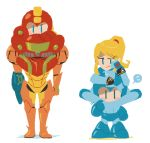 1boy 1girl arm_cannon blonde_hair blue_eyes blush_stickers bodysuit carrying chibi color_connection flying_sweatdrops hakusoto hakusotorakugaki helmet jitome metroid mole mole_under_mouth ponytail power_armor power_suit rockman rockman_(character) rockman_(classic) samus_aran shoulder_carry sidelocks simple_background sitting_on_shoulder smile super_smash_bros. weapon white_background zero_suit |_|