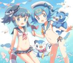 beret bikini bikini_skirt blue_eyes blue_hair blue_sky cloud hair_ornament hat heart heart_hair_ornament highres hikari_(pokemon) luvdisc piplup pokemon ponytail popplio porocha short_hair sidelocks sky suiren_(pokemon) swimsuit tiara wailmer wailord water wingull wishiwashi