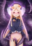 1girl abigail_williams_(fate/grand_order) absurdres bangs between_legs black_bow black_dress black_hat blonde_hair blush bow bug butterfly commentary_request dress dress_lift eyebrows_visible_through_hair fate/grand_order fate_(series) forehead groin hair_bow hat highres insect lifted_by_self long_hair long_sleeves looking_at_viewer navel no_panties nose_blush open_mouth orange_bow parted_bangs polka_dot polka_dot_bow red_eyes sleeves_past_fingers sleeves_past_wrists solo tentacle upper_teeth very_long_hair zuizhong