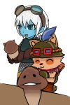 2013 clothing duo eyes_closed eyewear female goggles hat league_of_legends male mushroom open_mouth riot_games simple_background smile teemo_(lol) tristana_(lol) video_games white_background 超級小守鶴