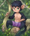 5_fingers anthro black_fur blush boxers_(clothing) bulge clothing cub fur green_eyes male mammal monkey primate sitting solo tan_fur underwear unrealplace young