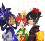 2015 3girls black_hair brown_eyes commentary_request flower hair_flower hair_ornament hair_ribbon happy_new_year higana_(pokemon) highres iris_(pokemon) manon_(pokemon) mayapazoo multiple_girls new_year partial_commentary pokemon red_eyes red_hair ribbon smile spider_lily translation_request