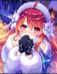 1girl ahoge ancient_killers_(phantom_of_the_kill) artist_request black_gloves blowing_on_hands blush coat eyebrows_visible_through_hair fur_hairband fur_trim gloves hairband hercule_(phantom_of_the_kill) long_hair official_art phantom_of_the_kill red_eyes red_hair snow town winter_clothes winter_coat