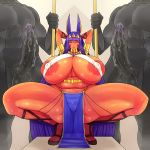 animal_ears arms_behind_head breasts dark_skin fate/grand_order fate_(series) gigantic_breasts huge_areolae huge_penis legs loincloth muscle nipples nitocris_(fate/grand_order) penis plump spread_legs squat squatting thick_thighs thighs tokyokyoto