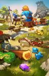 1boy back banana black_hair bone bottle claws club cooking eating egg fire food from_behind fruit glass_bottle grass guardian_(breath_of_the_wild) honey items link mask meat milk_bottle moblin mushroom pie ponytail pot rock rupees shield short_ponytail sickle skewer solo strap sword tail teeth the_legend_of_zelda the_legend_of_zelda:_breath_of_the_wild velocesmells weapon
