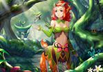 1girl absurdres bare_shoulders breasts centauroid cleavage detached_sleeves fairy fantasy forest green_hair hair_ornament highres horns light_rays long_hair medium_breasts midriff monster_girl nail_polish nature navel original red_eyes red_hair short_hair sonikey0_0 sunbeam sunlight