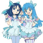 2girls bangs blue_eyes blue_hair bow choker commentary_request dress eyebrows_visible_through_hair frilled_dress frills fujise grin hair_bow hand_holding happinesscharge_precure! heart heartcatch_precure! interlocked_fingers kurumi_erika long_hair multiple_girls open_mouth pantyhose precure puffy_short_sleeves puffy_sleeves pun round_teeth shirayuki_hime short_sleeves simple_background sleeveless smile teeth thick_eyebrows thighhighs white_background wrist_cuffs zettai_ryouiki