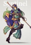 1girl armor breastplate fire_emblem fire_emblem:_akatsuki_no_megami fire_emblem:_souen_no_kiseki green_eyes green_hair grey_background gzei helm helmet high_heels holding holding_spear holding_weapon long_hair looking_at_viewer nephenee pauldrons polearm simple_background skirt solo spear thighhighs weapon