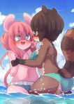 2girls animal_ears ass bikini blue_eyes blush breasts brown_hair cloud drooling eye_contact face-to-face flat_chest furry glasses green_bikini green_swimsuit heavy_breathing highres kneeling looking_at_another mouse_ears mouse_tail multiple_girls navel ocean open_mouth original outdoors pink_hair saliva short_hair side-tie_bikini sideboob sky squirrel_ears squirrel_tail sweatdrop swimsuit tail tears tongue tongue_out wading water wrist_grab you_gonna_get_raped yuri yuuki_(yuyuki000)