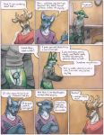 2018 5_fingers anthro antlers balls blue_fur brown_fur canine cervine chastity chastity_cage clothing collar comic cum cum_on_clothing dialogue english_text fur gale_(ruaidri) green_fur horn imminent_sex inner_ear_fluff licking licking_lips male mammal multicolored_fur ruaidri speech_bubble text tongue tongue_out two_tone_fur undressing white_fur
