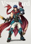 1boy armor blue_eyes blue_hair breastplate fingerless_gloves fire_emblem fire_emblem:_akatsuki_no_megami fire_emblem:_souen_no_kiseki gloves greaves grey_background gzei headband holding holding_sword holding_weapon ike looking_at_viewer pauldrons scarf simple_background solo sword weapon