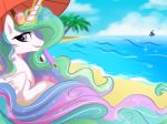 2018 beach cloud cute dessert detailed_background duo equine eyebrows eyelashes eyewear feathered_wings feathers female feral food friendship_is_magic glowing_horn hair hi_res hooves horn levitation long_hair magic mammal multicolored_hair my_little_pony oofycolorful outside palm_tree popsicle portrait princess_celestia_(mlp) princess_luna_(mlp) purple_eyes rainbow_hair seaside sibling sisters sky smile solo_focus sparkles summer sunglasses tree umbrella water white_feathers winged_unicorn wings