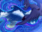 2018 blue_feathers cloud cosmic_hair equine eyebrows eyelashes eyeshadow feathered_wings feathers female feral flying friendship_is_magic hair half-closed_eyes hi_res hooves horn long_hair makeup mammal mascara my_little_pony nude oofycolorful portrait princess_luna_(mlp) sky snow snowflake solo spread_wings teal_eyes winged_unicorn wings winter