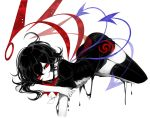 1girl artist_name ass asymmetrical_wings black_dress black_hair black_legwear blue_wings bow bowtie center_frills dress hair_between_eyes highres houjuu_nue limited_palette looking_at_viewer lying on_stomach open_mouth red_bow red_eyes red_neckwear red_wings sheya short_dress short_hair short_sleeves signature simple_background smile solo spot_color thighhighs touhou white_background wings zettai_ryouiki