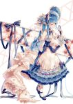 1girl adapted_costume alternate_costume back_bow blue_hair bow dress flower frilled_dress frills highres hinanawi_tenshi ling_mou mirror red_eyes ribbon touhou
