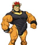 analon_(artist) anthro biceps big_bulge big_penis bowser bulge clothed clothing erection erection_under_clothes flexing hair horn koopa male mario_bros muscular muscular_male nintendo one-piece_swimsuit partially_clothed pecs penis penis_outline pose red_hair scalie shirt simple_background smile solo standing swimsuit vein video_games white_background