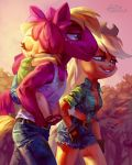 2018 absurd_res anthro apple_bloom_(mlp) applejack_(mlp) big_macintosh_(mlp) brother brother_and_sister clothed clothing denim_shorts equine eyes_closed female friendship_is_magic group hair hair_bow hair_ribbon hi_res holivi jeans mammal my_little_pony outside pants ribbons shorts sibling sister sisters smile young
